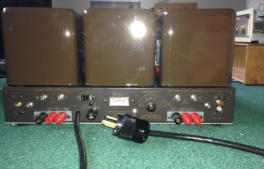 The back with custom speaker terminals, Belden cord, triode switches, and bias tip jacks